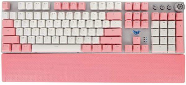AULA F2088 Mechanical Keyboard, White and Pink Double Spell PTP keycap, Magnetic adsorption Hand Rest, Gaming and Office Keyboard (White and Pink) Singapore
