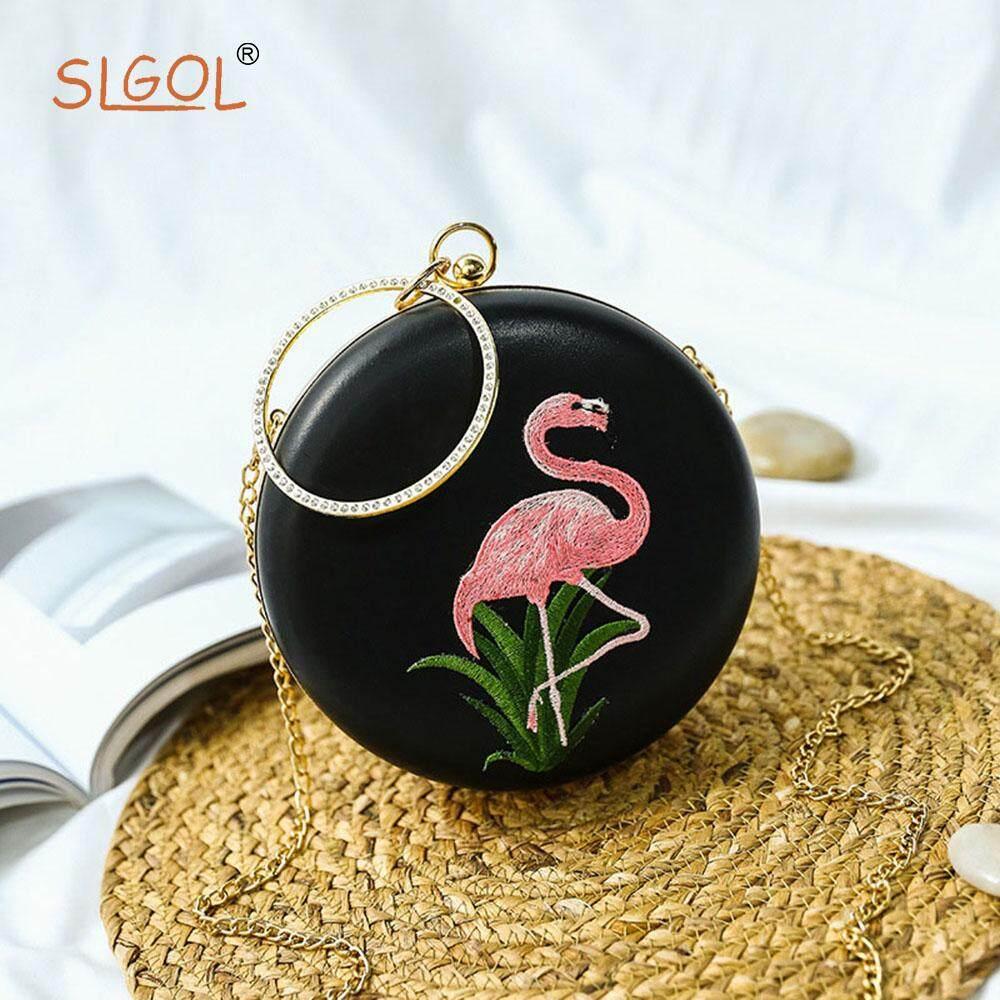 Womens Round Clutch Evening Handbag Ring Top-handle Party Bag Shoulder Bag By SLGOL