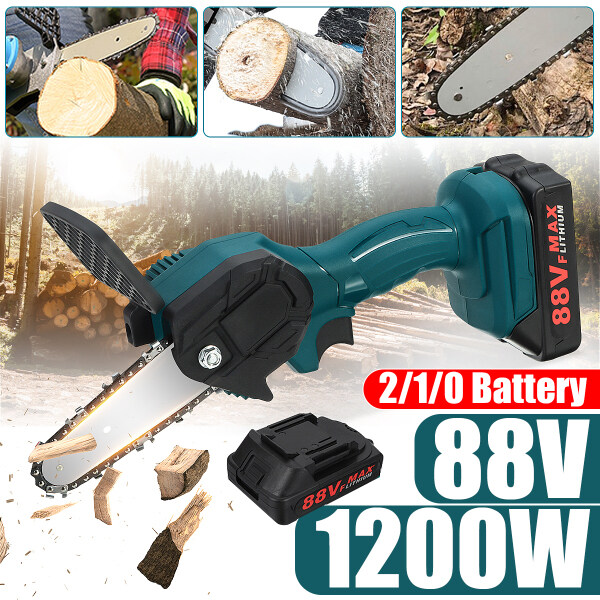 88V Electric Chainsaw Cordless Mini One-Hand Chain Saw Kits Power Tool  Wood Cutter Machine with Battery Electric Secateurs Tree Branch Pruner