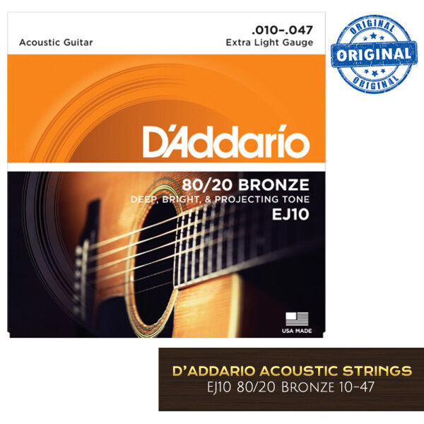 DAddario EJ10 Extra Light 80/20 Bronze Acoustic Strings 10-47 Acoustic Guitar Strings (gauge 10) Malaysia
