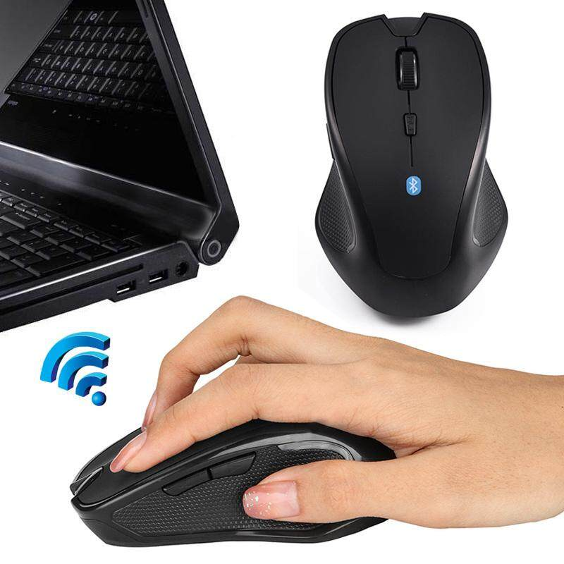 Tetikus Nirkabel Portabel Hitam 6 Tombol 1600 DPI Kontrol 10 M PC Bisu Bekerja Komputer Mouse Optik Tetikus Bluetooth 2.4 Tablet Mekanik Mouse mouse Gaming untuk Macbook