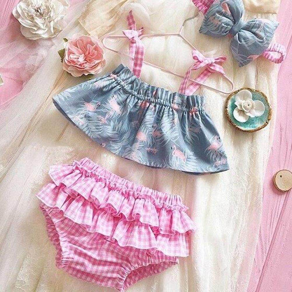 Cute Newborn Baby Girl Flamingo Outfit Set Clothes Princess Dress+pants Shorts By Lg566.