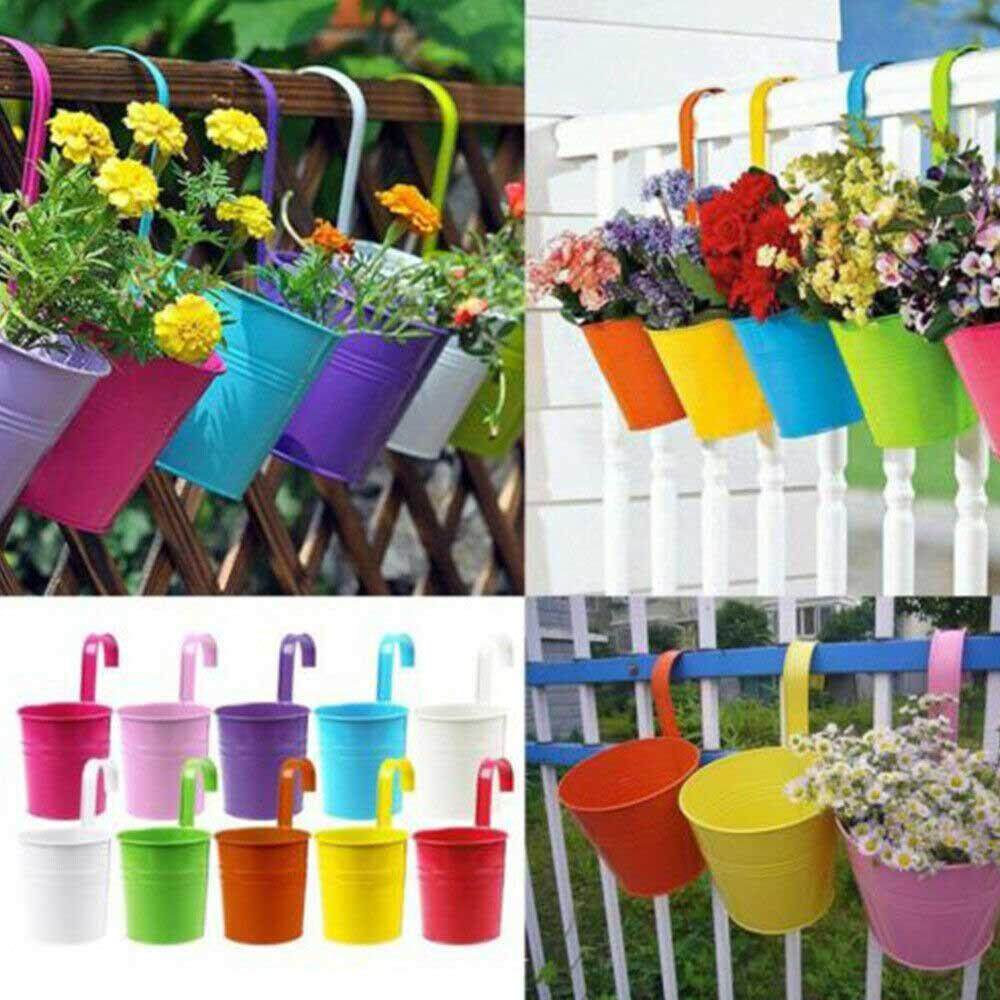 GoodGreat Balcony Garden Hanging Flower Pot, Iron Metal Flowerpot Garden Decoration Supplies Accessories For Courtyard, Home Garden, Deck, Office, Restaurant And Supermarket (10 PCS)