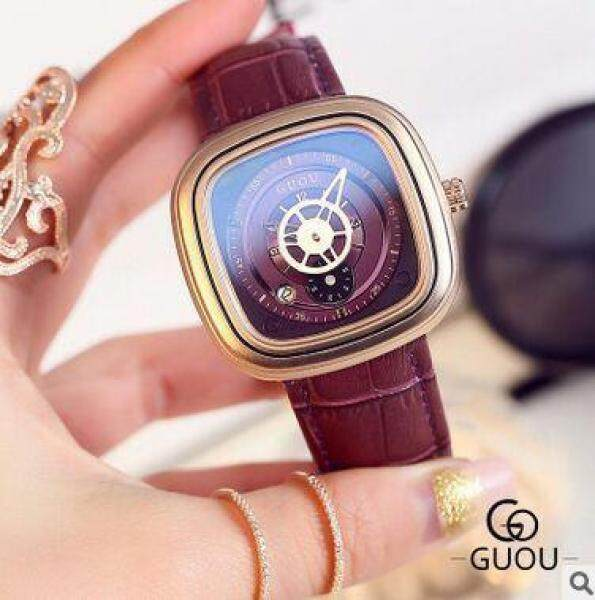 Guou 8150 Large Square Dial Watches Calendar Watches Hight Quality Genuine Leather Luxury Lady Gift Quartz Wristwatches Malaysia