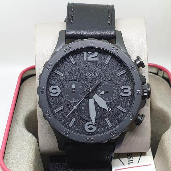Fossil JR1354 Nate Chronograph Black Leather Men's Watch Malaysia