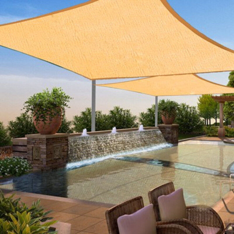 HDPE Sun Shade Sail Canopy Rectangle 2x4m Sand Brown UV Blocking Outdoor Garden Sun Shelter Protection