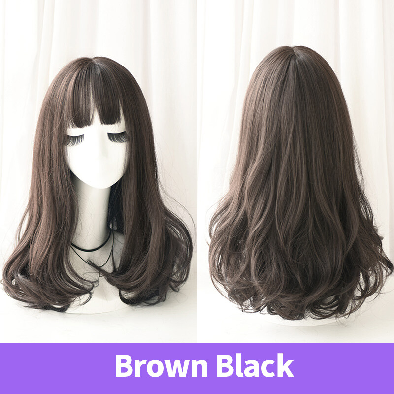 Fashion Curly Wig With Bang Light Brown Medium Length Full Wig Partial Bangs Heat Resistant Wig For Women Brown Black Lazada Ph