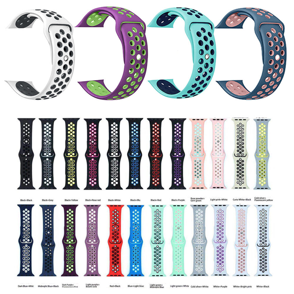 Band For Apple Watch 5 4 3 2 1 42mm 38mm Soft Breathable Strap Silicone Sports Bands For Nike+ Iwatch Series 5 4 3 40mm 44mm.