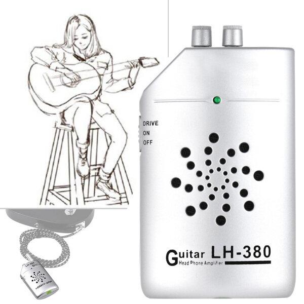 Tai Nghe Thực Hành Ukulele Guitar Mini Cầm Tay Loa Khuếch Đại Amp Với Đai Kẹp Đen