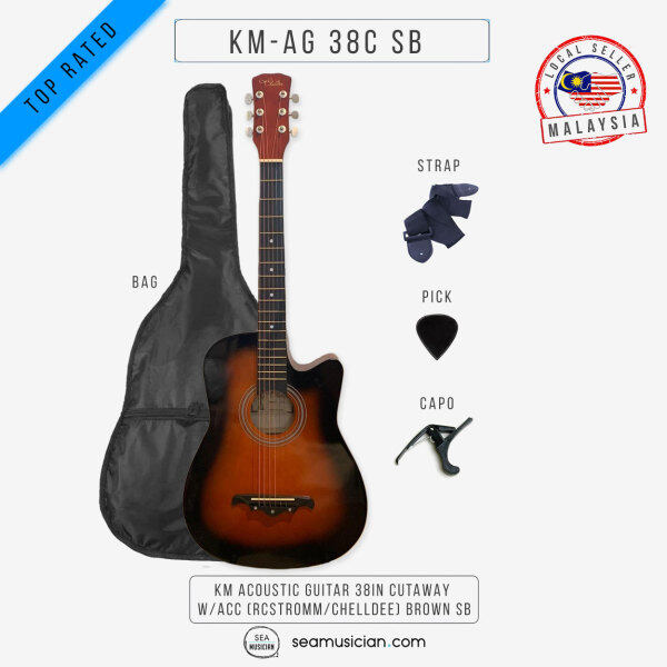 KM ACOUSTIC GUITAR 38IN CUTAWAY W/BAG AND ACCESSORIES COLOR BROWN SUNBURST BY RCSTROMM/CHELLDEE (38 INCH ACO GTR/ GITAR AKUSTIK/ SEAMUSICIAN) Malaysia