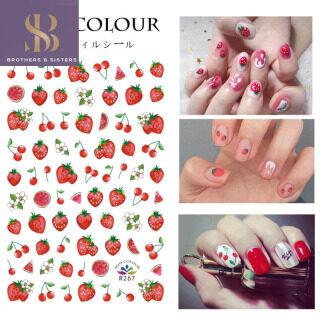 Shiny B & S Dâu Tây Cầu Vồng Cherry Phong Cách Nhãn Dán Móng Nghệ Thuật Phụ Nữ Trang Trí Móng Lễ Hội Mùa Xuân Decal thumbnail