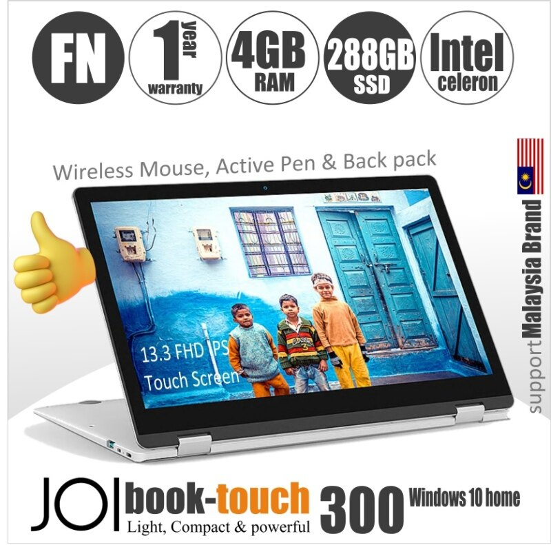 JOI Book Touch 300  + Free 300 GB Hosting + Active Pen + Wirelss Mouse + BackPack (Intel Celeron N4000; 4GB RAM  32GB+256GB eMMC  13.3 FHD IPS) Malaysia