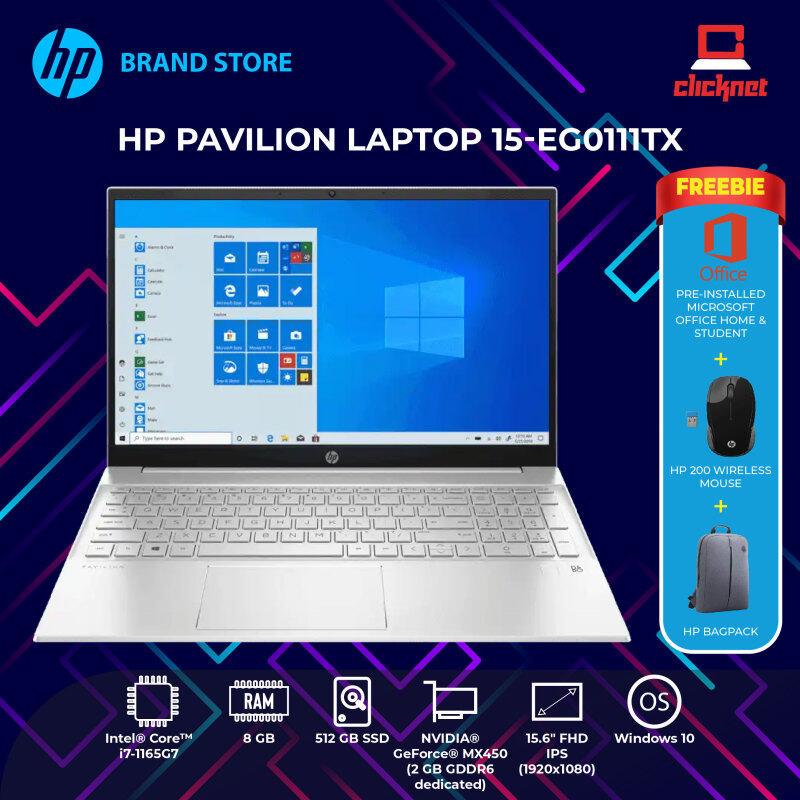 HP Pavilion 15-eg0111TX (2R8B8PA) (i7-1165G7,8GB,512GB SSD,15.6 FHD,MX450 2GB,WIN10) FREE BACKPACK + OPI Malaysia
