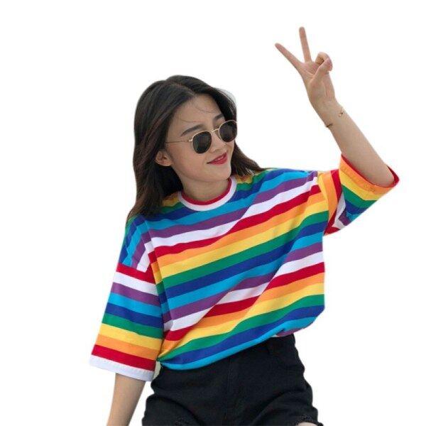 Giá bán Áo Thun Nữ SọC CầU VồNg Harajuku Áo Mùa Hè Cho Nữ Áo Thun Punk Hàn Quốc Tay Ngắn Camiseta Feminina