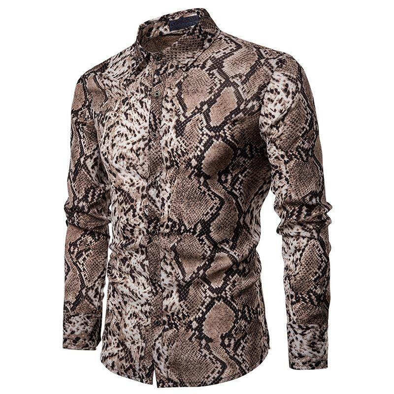 8dc54b76 Product details of Snake pattern Unique design Hawaiian Shirt Mens Clothing  Stage Mens Shirts Blouse Men Casual 2019 New