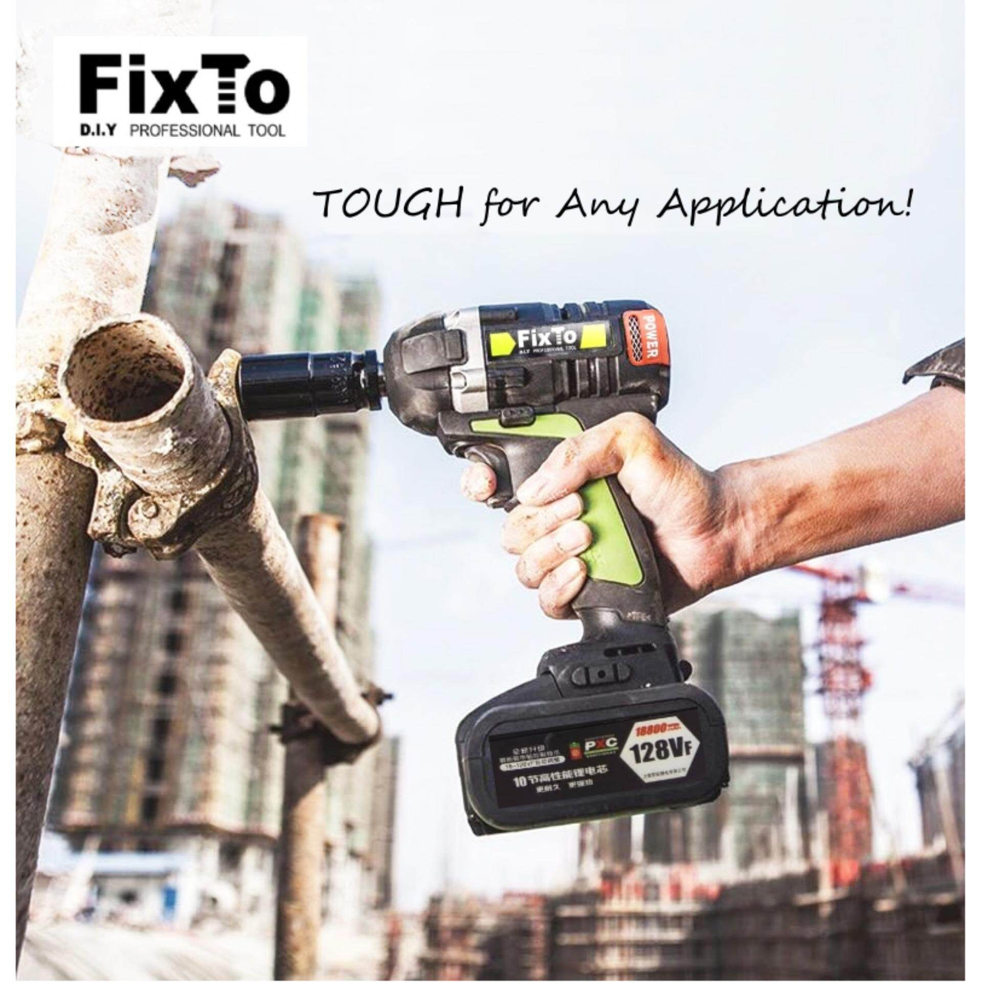 FixTo 500Nm Torque Heavy Duty Cordless Impact Wrench 1/2  Drill Screwdriver (Single Battery Pack)