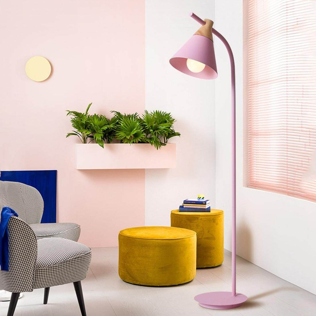 YWXLight Macaron floor lamp vertical table lamp (Pink)