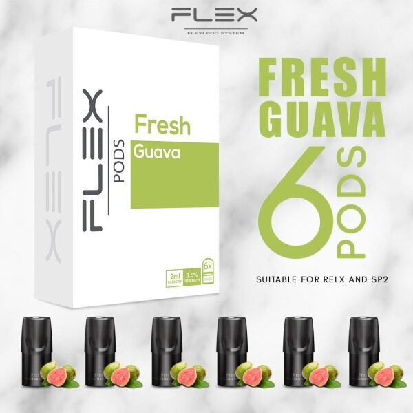 [6pcs In 1 Box] FLEX FRESH GUAVA Flavor Pod 2ML/E-Cigarette Vape Juice E-Liquid Cartridge compatible with relx & sp2 Malaysia