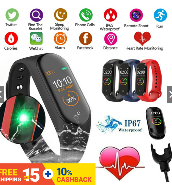 M4 Smart Bracelet Sport Fitness Tracker Pedometer Heart Rate Blood Pressure Bluetooth Smartband IOS Android Smart Watch IP67 Waterproof Malaysia