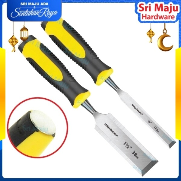 MAJU WC-RYH Heavy Duty Yellow Wood Chisel CRV Hammer Steel End Cap Soft Grip Handle Wood Carving Mata Pahat Kayu H/D