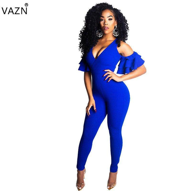 Autumn High Quality Fashion Women Solid Bodycon Jumpsuits Ladies Deep V-Neck  Short Sleeve Off 5798a303a22d