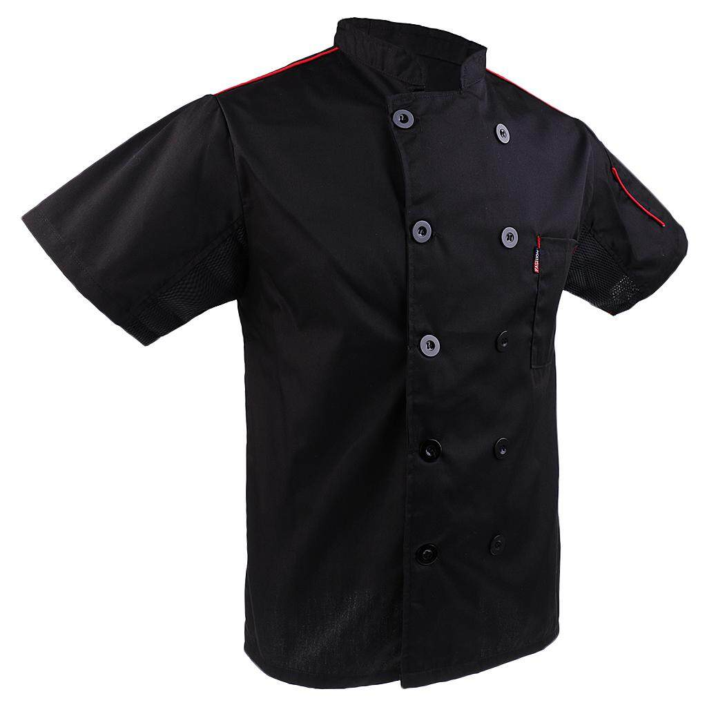 Blesiya Chef Cook Cap Black Jacket Top Restaurant Hotel Kitchen Uniform Work Wear XL