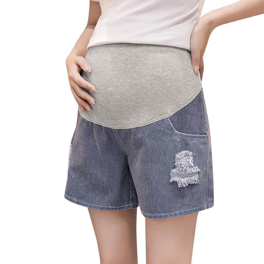 d1cdefef76d5d Fashion Denim Pregnant Woman Ripped Jeans Maternity Solid Short Pants  Nursing Prop Belly Pregnancy Summer Maternity
