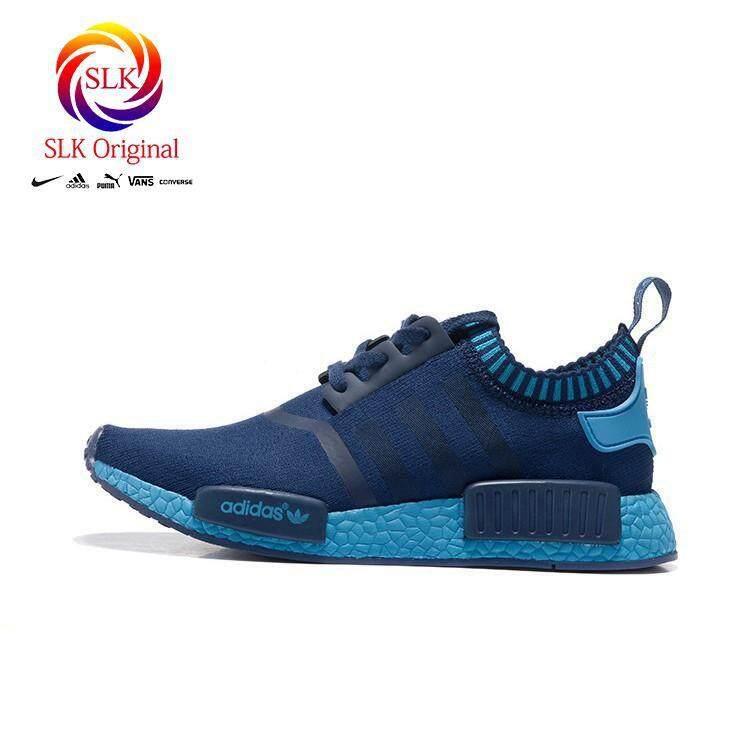 สอนใช้งาน  กระบี่ SLK เดิม★ใหม่รองเท้า Adidas NMD ผู้ชายรองเท้าลำลองรองเท้าวิ่งสีน้ำเงิน