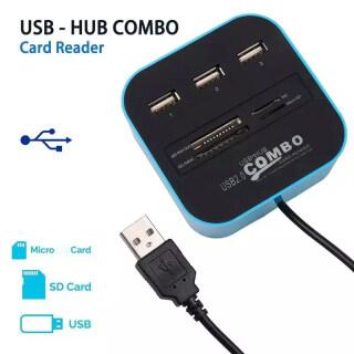USB 2.0 Hub Đầu Đọc Thẻ TF Micro SD 3 Cổng Bộ Chuyển Đổi Bộ Chia USB Đa Năng Hỗ Trợ Micro TF SD M2 MS SDHC MMC Dành Cho Máy Tính Xách Tay PC thumbnail