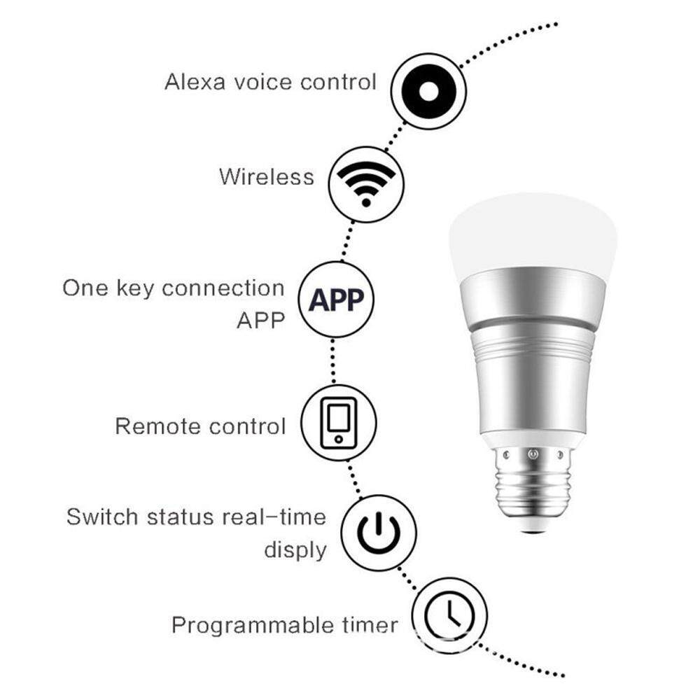 GoodGreat Wifi Bulb -LED Smart Light Bulb - Support Voice Control,APP Remote Control,Dimmable,Multicolor,Timing Seting,E27,Compatible With Alexa And For Google Home / Nest