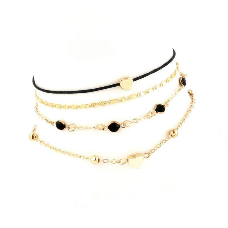 46d5f0301ac7f 4 Pcs/ Set Vintage Classic Heart Love Beads Round Handmade Anklet Fashion  Multilayer Anklet Set Female Personality Jewelry