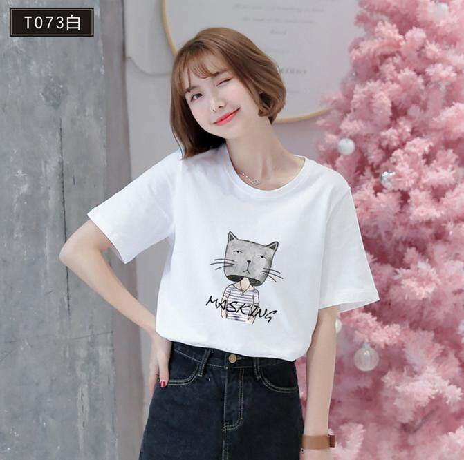 5add091f69bd6a Angelababy Fashion Chic Kitty Girl Short Sleeve Girl Women's T-shirts  Students Tees Crewneck tshirts
