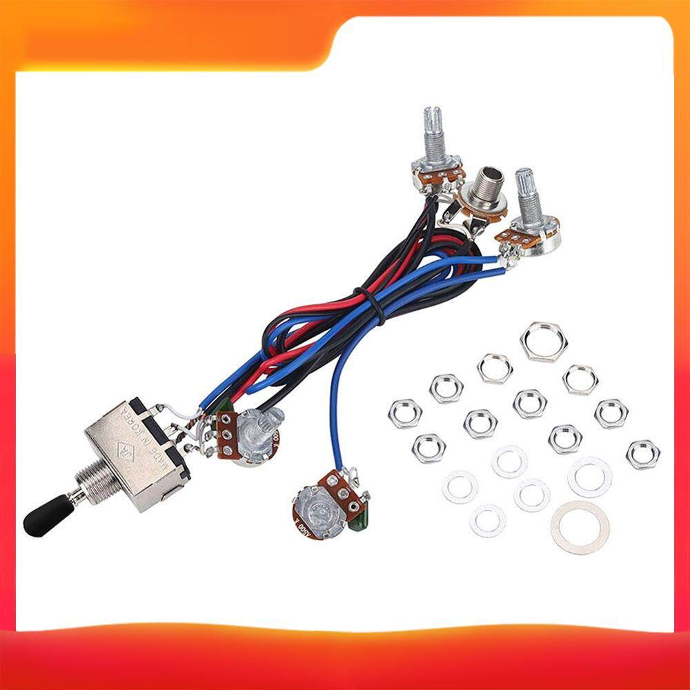 Prewired Wiring Harness Kit For Lp Electric Guitar 2t2v 500k Pots 3 Way Toggle Switch Wiring Harness With Jack For Dual Humbucker Gibson Les Pual Style Guitar Electronics Replacement Lazada Ph