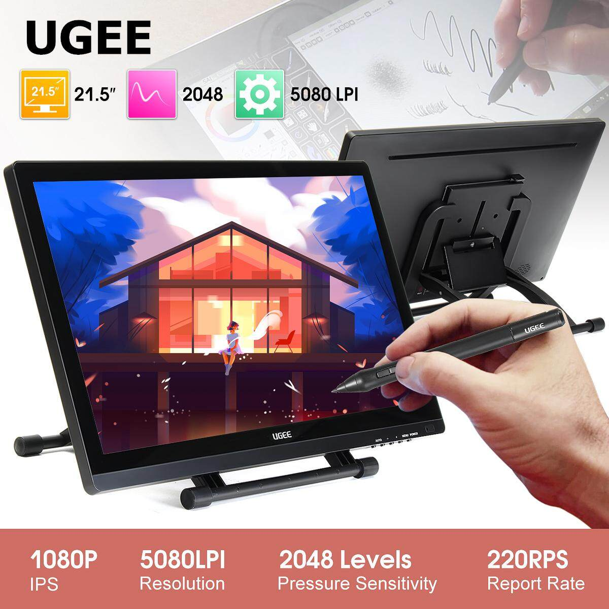 【Free Shipping + Flash Deal】Ug-2150 Ugee2150 Graphic Drawing Monitor WITH 2  PENS, SCREEN PROTECTOR, GLOVE