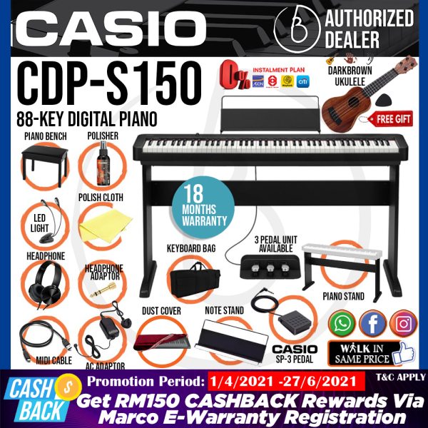Casio CDP-S150 88-key Digital Piano Home Package with Piano Stand (CDPS150 / CDP S150) Malaysia