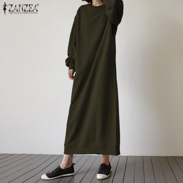 Áo Nỉ Kaftan Cho Nữ, Phong Cách Hàn Quốc Đầm Maxi Dài Trơn, Cơ Bản Màu Trơn Xuân, Phong Cách Sang Trọng, Váy Chui Đầu
