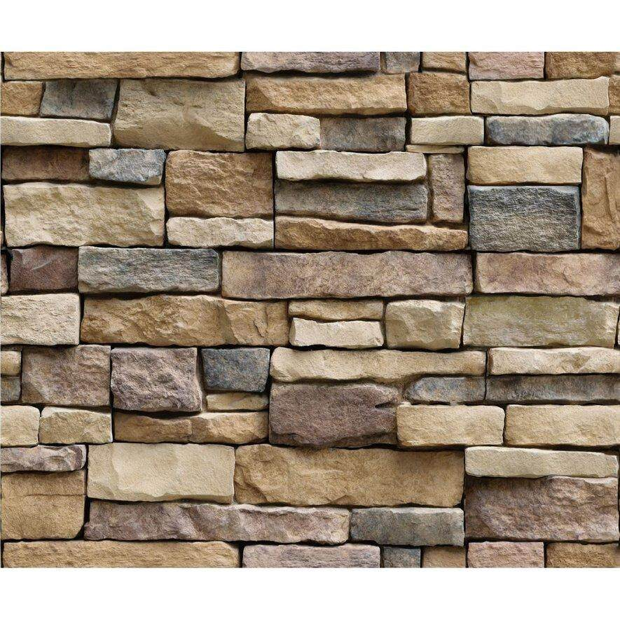 [Flash Sale] 3D Stone Brick Wallpaper PVC Wall Sticker Bedroom Living Room Background Decal