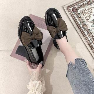 Giày Lười Đế Bằng Cho Nữ, Giày Da Giày Lười Thời Trang Kiểu Hàn Quốc Có Nơ Buộc thumbnail