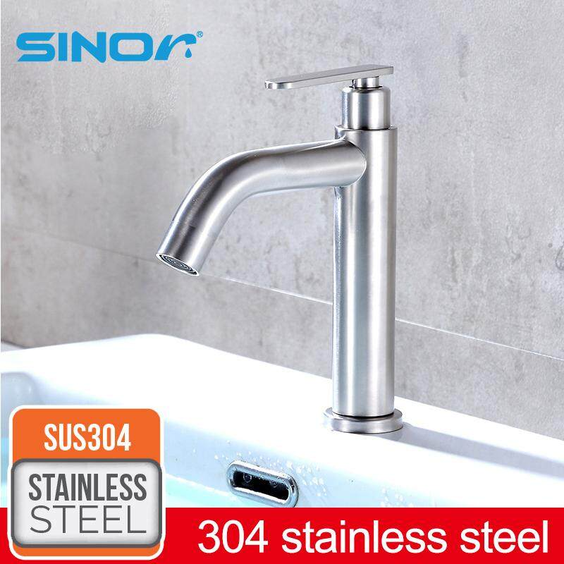 SINOR SS-2016 SUS304 Stainless Steel Pillar Kitchen and Bathroom Sink Faucet Water Saving Basin Tap