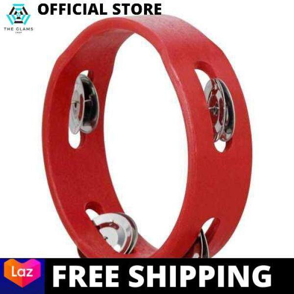 [LAZCHOICE] 6 Inch Handheld Wooden Tambourine Hand Bell Percussion Musical Toy Single Row Metal Jingles Red for Party Kids Games (Red) Malaysia