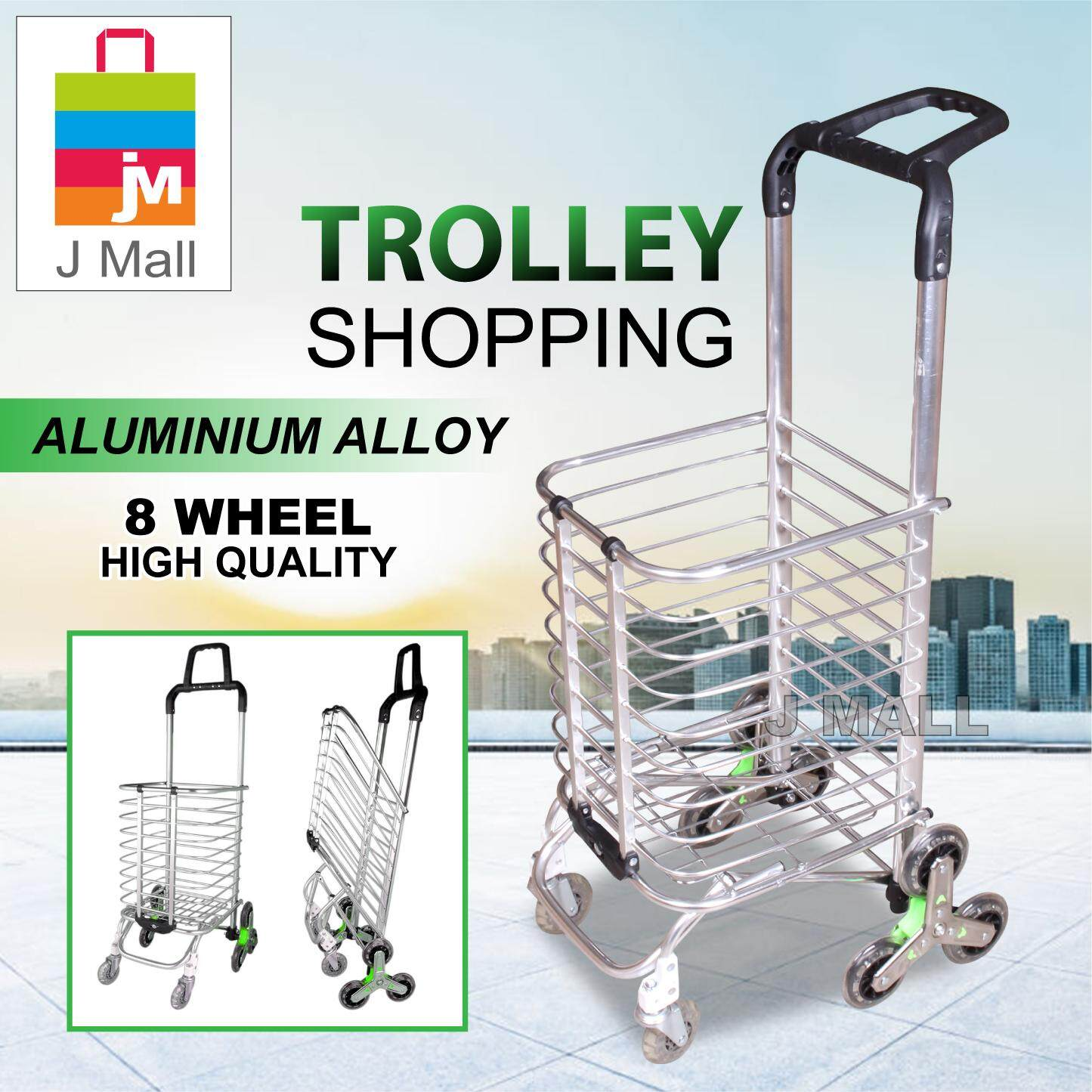 8 Wheel High Quality Foldable Shopping Grocery Trolley Multi Functions By J Mall.
