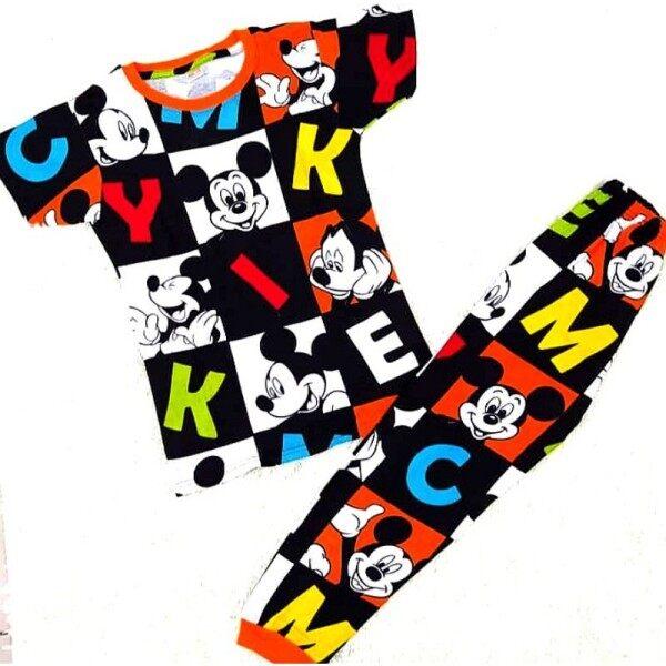 Family Pyjamas Set💕 Baby Kids Big Teen Adults Size Long Short Sleeve Shirt Long Pant Doraemon Mickey Mouse Baju Murah Malaysia