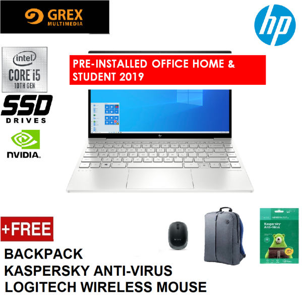 HP ENVY 13-BA0007TX LAPTOP (I5-10210U,8GB,512GB SSD,13.3 FHD IPS,GEFORCE MX350 2GB,WIN10) FREE BACKPACK + LOGITECH WIRELESS MOUSE + KSPSKY ANTI-VIRUS+ PRE-INSTALLED OFFICE H&S 2019 Malaysia