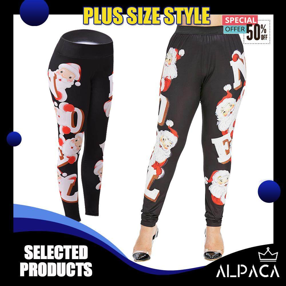 c4b0eb89ab 【ALPACA Collection】New Hot Sell Fashion High Waist Baggy Women Ankle  Stretchable Flexible Father Christmas Santa Printed Black X-Large Loose  Plus ...