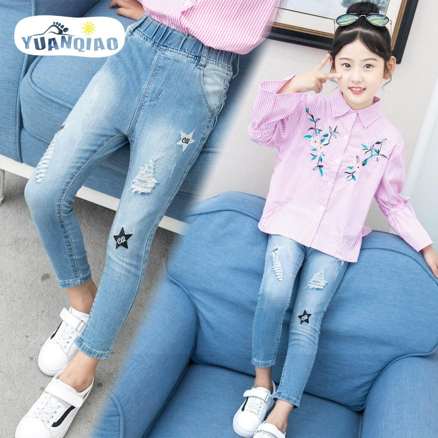 Giá bán YUANQIAO Nữ Quần Jean Thu Chặt Quần Jeans 2018 Mới Trẻ Quần Thun Lỗ Quần Quần Jeans Trẻ Em Bé Gái Quần Jean