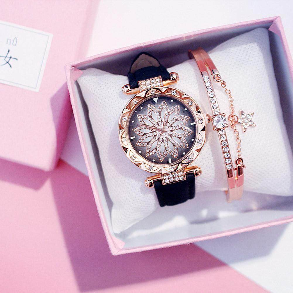 Qaao Elegant Diamond Shinning Floral Wristwatch Waterproof Magnetic Stainless Steel Mesh Strap Womens Watch Best Gift for Lady & Girls Malaysia