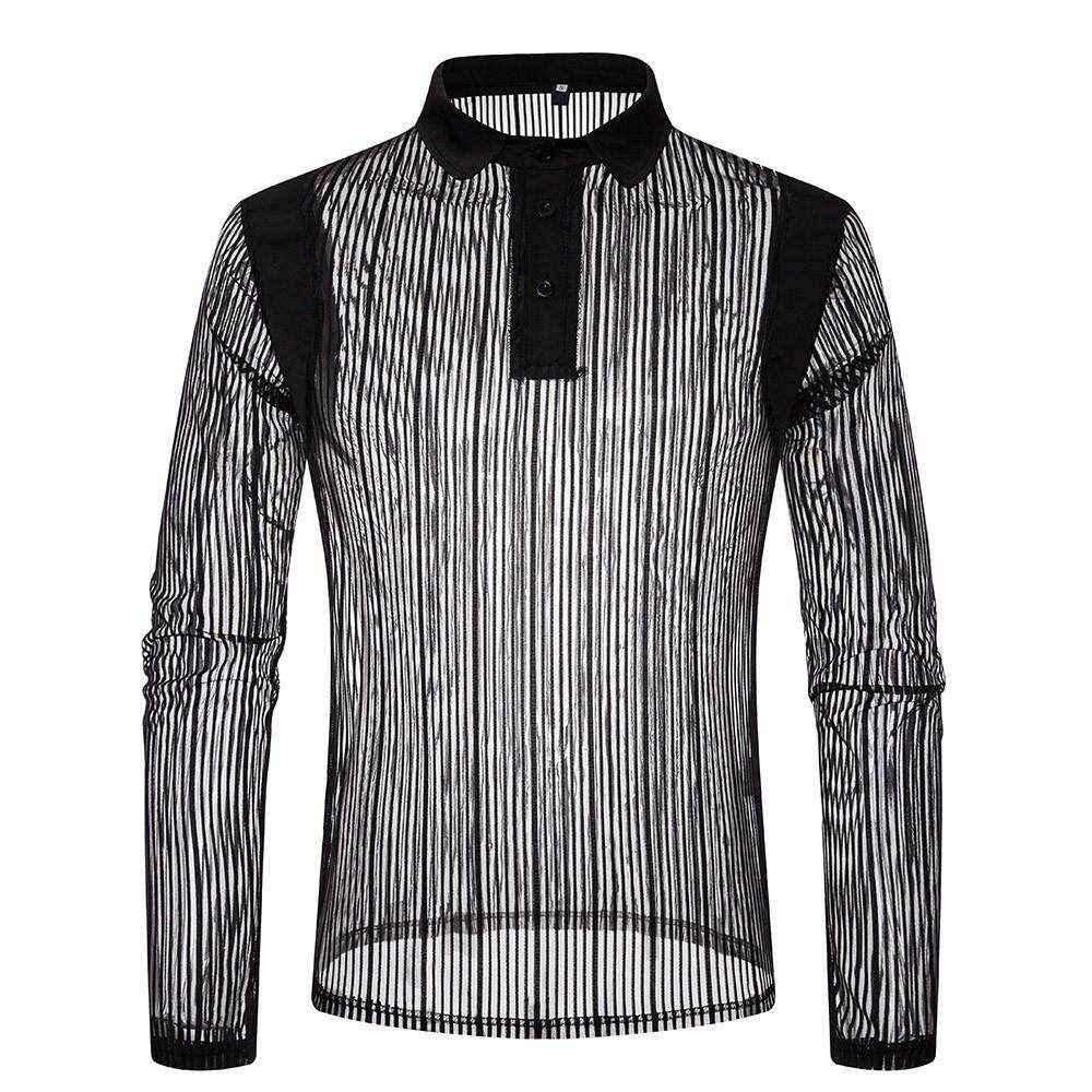 Mens Autumn Casual Mesh Shirts Long Sleeve Shirt Poloshirt Top Blouse By Ro Mantiy.