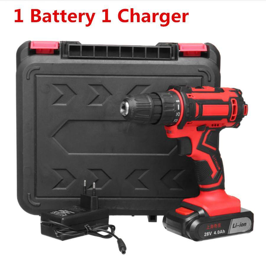 28V 48Nm Cordless Electric Drill Driver Set Screwdriver + Li-lon Battery And Charger