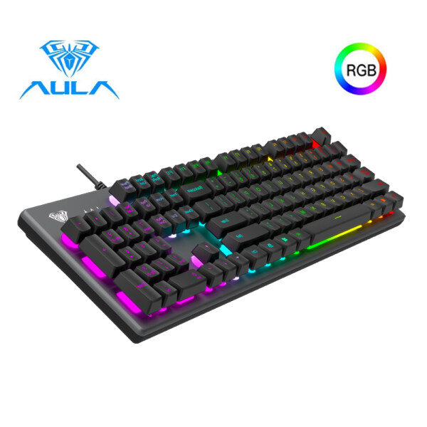 AULA S2056 Wired Multi-Colorful Backlight Mechanical Gaming Keyboards Metal Panel ABS Floating keycap Cool Magical Lighting Effect for PC Gamer Singapore