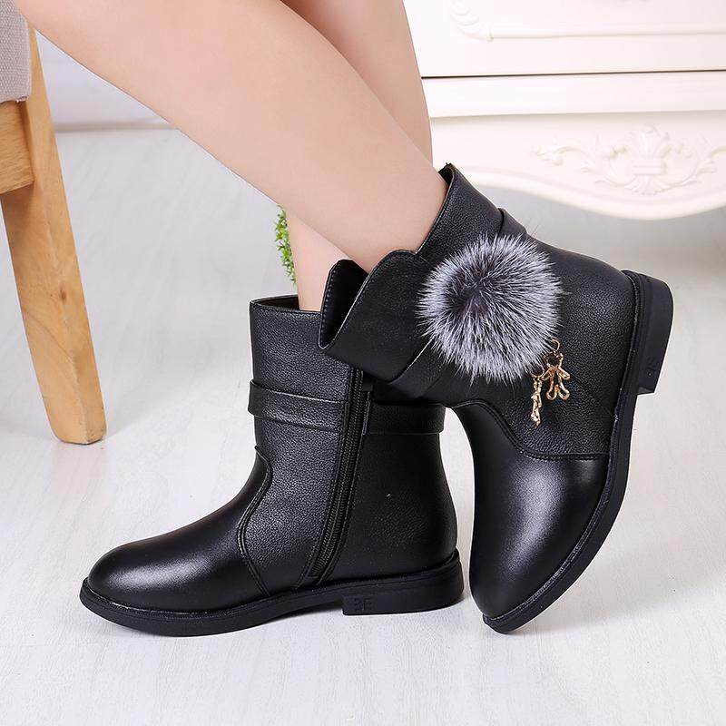 Winter Fashion Child Girls Snow Boots Shoes Warm Plush Soft Bottom Baby  Girls Boots Comfy Kids 44e3a4fb3288